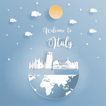 Cartão postal promovendo mundialmente famosos monumentos da itália