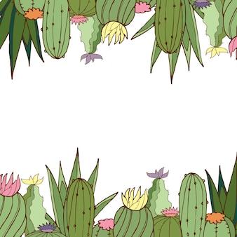 Cartão postal. vetor. cactos. cartão postal brilhante. ilustração a cores.