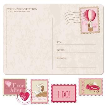 Cartão postal vintage com selos postais