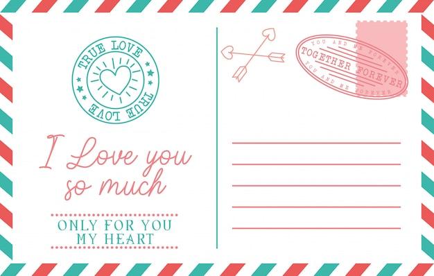 Cartão postal vintage de amor