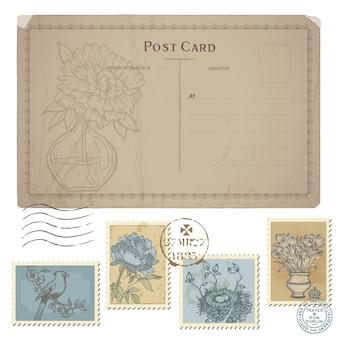 Cartão postal vintage e conjunto de selos postais - com flores e pássaros