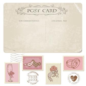 Cartão postal vintage e selos postais para design de casamento, convite