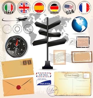 Cartão postal vintage e selos postais