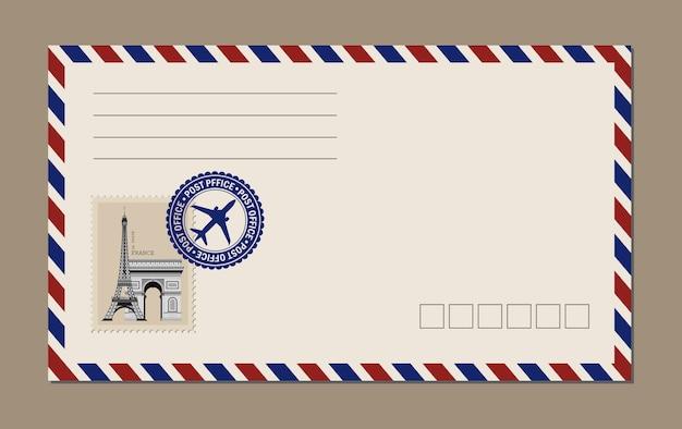 Cartão postal vintage, envelopes e selos. cartão postal da torre eiffel.