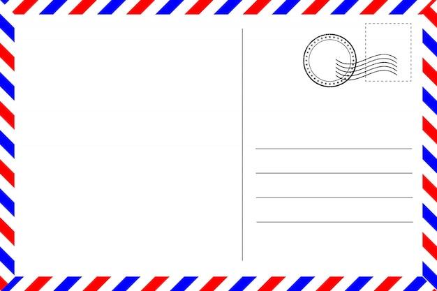 Cartão postal vintage realista com borda vermelha e azul