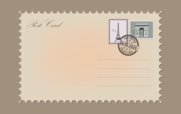 Cartão postal vintage. selo dos correios. carimbo de correio aéreo.
