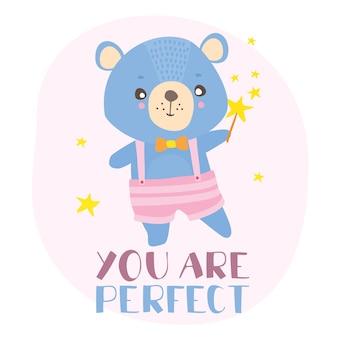 Cartão postal você é perfeito com ursinho de pelúcia