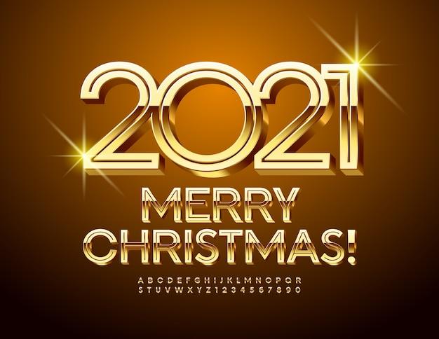 Cartão premium do vetor feliz natal 2021! fonte brilhante criativa. letras e números do alfabeto elite gold