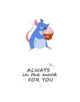Cartão-presente com o mouse comendo um bolo personagem de aniversário do mouse com desenho de letras do bolo de férias