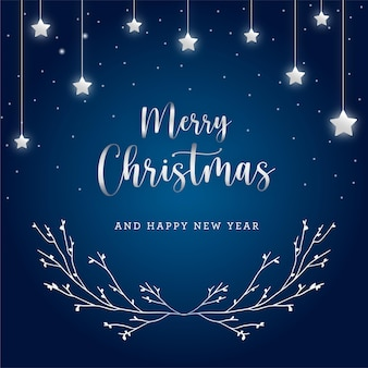 Cartão-presente de natal elegante em azul e prata