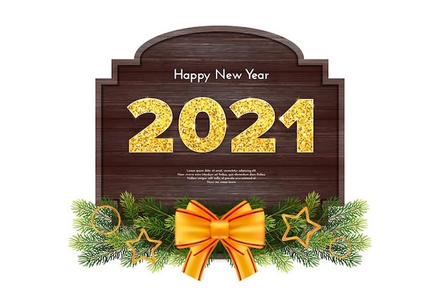 Cartão-presente de natal feliz ano novo com guirlanda de galhos de árvore de abeto e arco