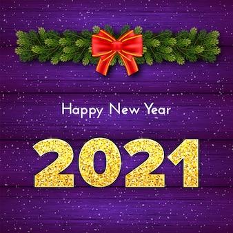 Cartão-presente de natal feliz ano novo com guirlanda de ramos de árvore de abeto, laço vermelho e neve