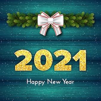 Cartão-presente de natal feliz ano novo de 2021 com guirlanda de galhos de árvores de abeto, laço branco e neve