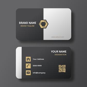Cartão preto / branco elegante com logotipo do hexágono do ouro
