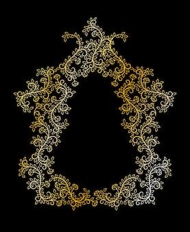 Cartão preto com moldura de flores douradas
