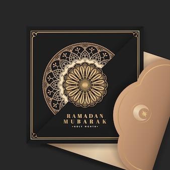 Cartão preto de eid mubarak