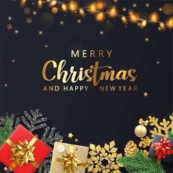 Cartão preto de feliz natal e feliz ano novo com flocos de neve de presentes coloridos e lanternas decorativas