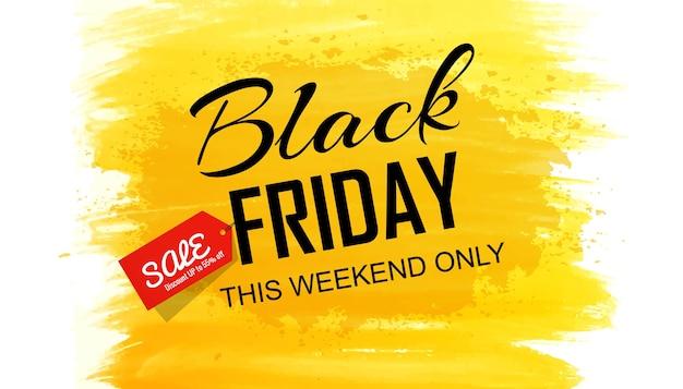 Cartão preto de venda de desconto sexta-feira para pincel de aquarela