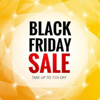 Cartão preto de venda na sexta-feira com polígono brilhante