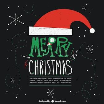 Cartão preto do natal com chapéu de papai noel