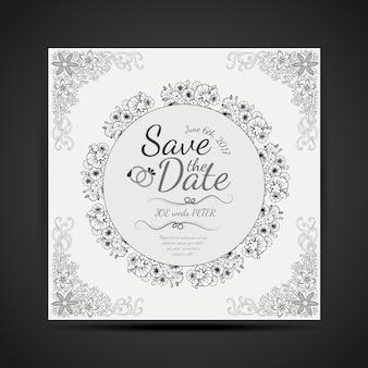 Cartão preto e branco desenhado mão do convite do casamento do projeto da mandala