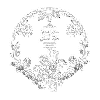 Cartão preto e branco do convite do casamento do estilo da mandala