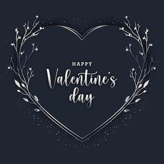 Cartão preto elegante de dia dos namorados com elementos de prata