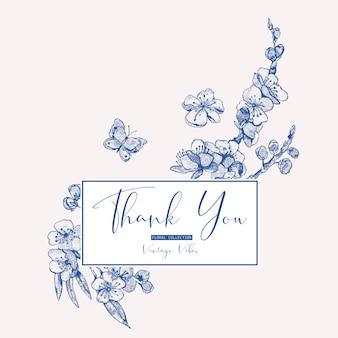 Cartão primavera, vintage bouquet floral com galhos florescendo de cereja