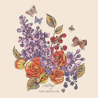 Cartão primavera vintage com flores desabrochando de begônia, lilás