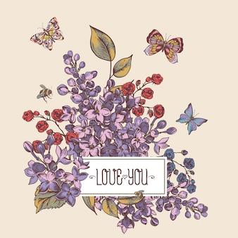 Cartão primavera vintage com flores desabrochando de lilás