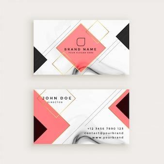Cartão profissional de mármore com forma de diamante