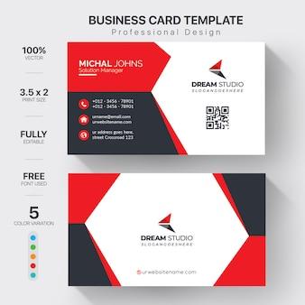 Cartão profissional moderno com detalhes vermelhos