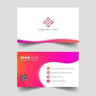 Cartão profissional moderno das ondas do rosa