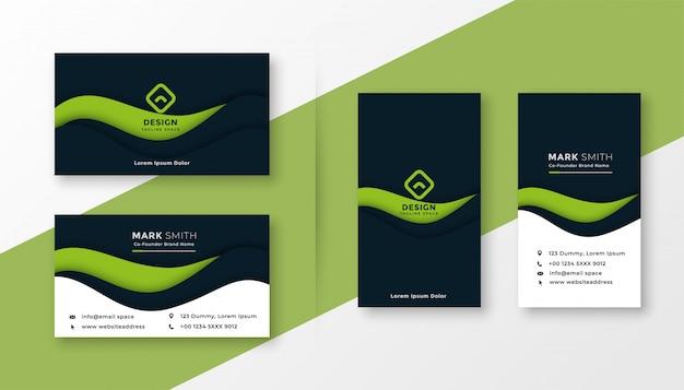 Cartão profissional verde abstrato