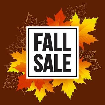 Cartão promocional de venda de outono com folhas
