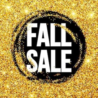 Cartão promocional de venda de outono com glitter
