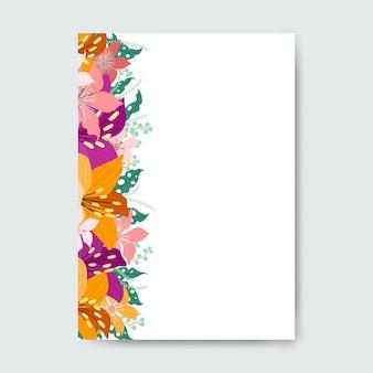 Cartão quadrado com flores coloridas