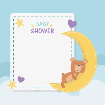 Cartão quadrado de chuveiro de bebê com ursinho de pelúcia e lua