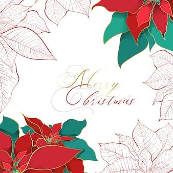 Cartão quadrado de natal de poinsétia de seda.