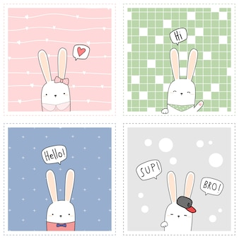 Cartão quadrado do coelho bonito do coelho