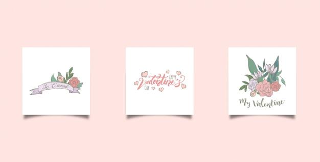 Cartão quadrado do valentim do doodle