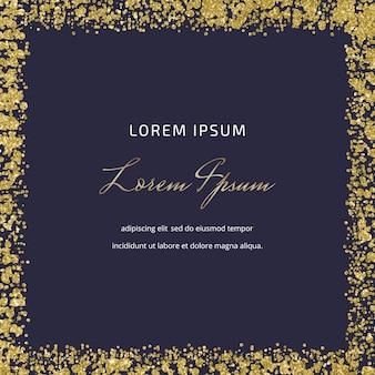 Cartão quadrado preto com textura de confete de glitter dourado