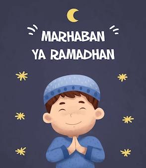 Cartão ramadan islâmico em aquarela