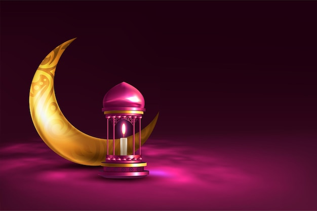 Cartão ramadan kareem com lâmpada e lua