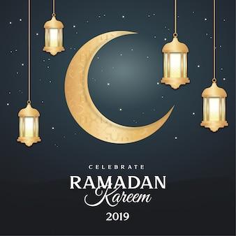 Cartão ramadan moderno com lâmpadas