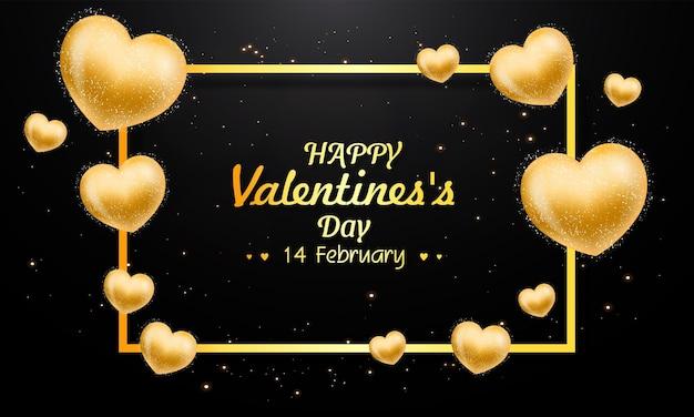 Cartão realista de dia dos namorados com corações de ouro