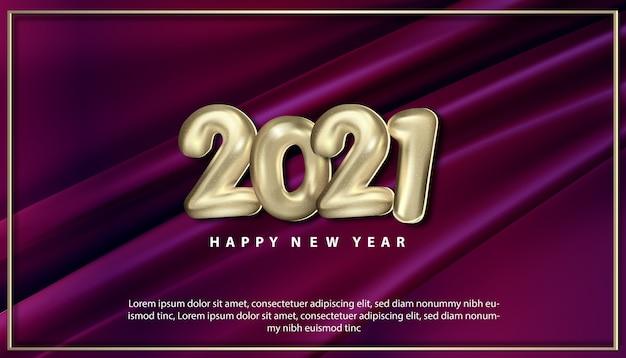 Cartão realista de feliz ano novo 2021