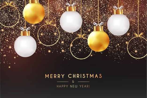 Cartão realista de feliz natal e feliz ano novo com fundo bokeh