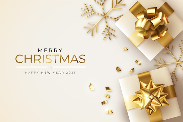 Cartão realista de natal e ano novo com presentes e flocos de neve