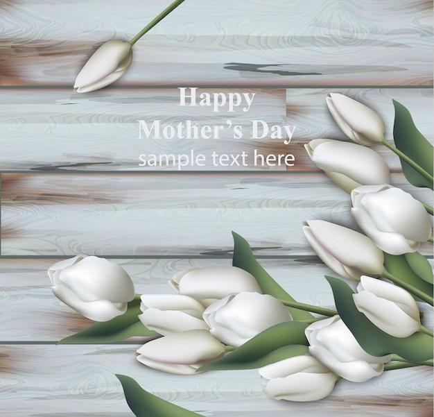 Cartão realista de tulipas brancas, feliz dia das mães